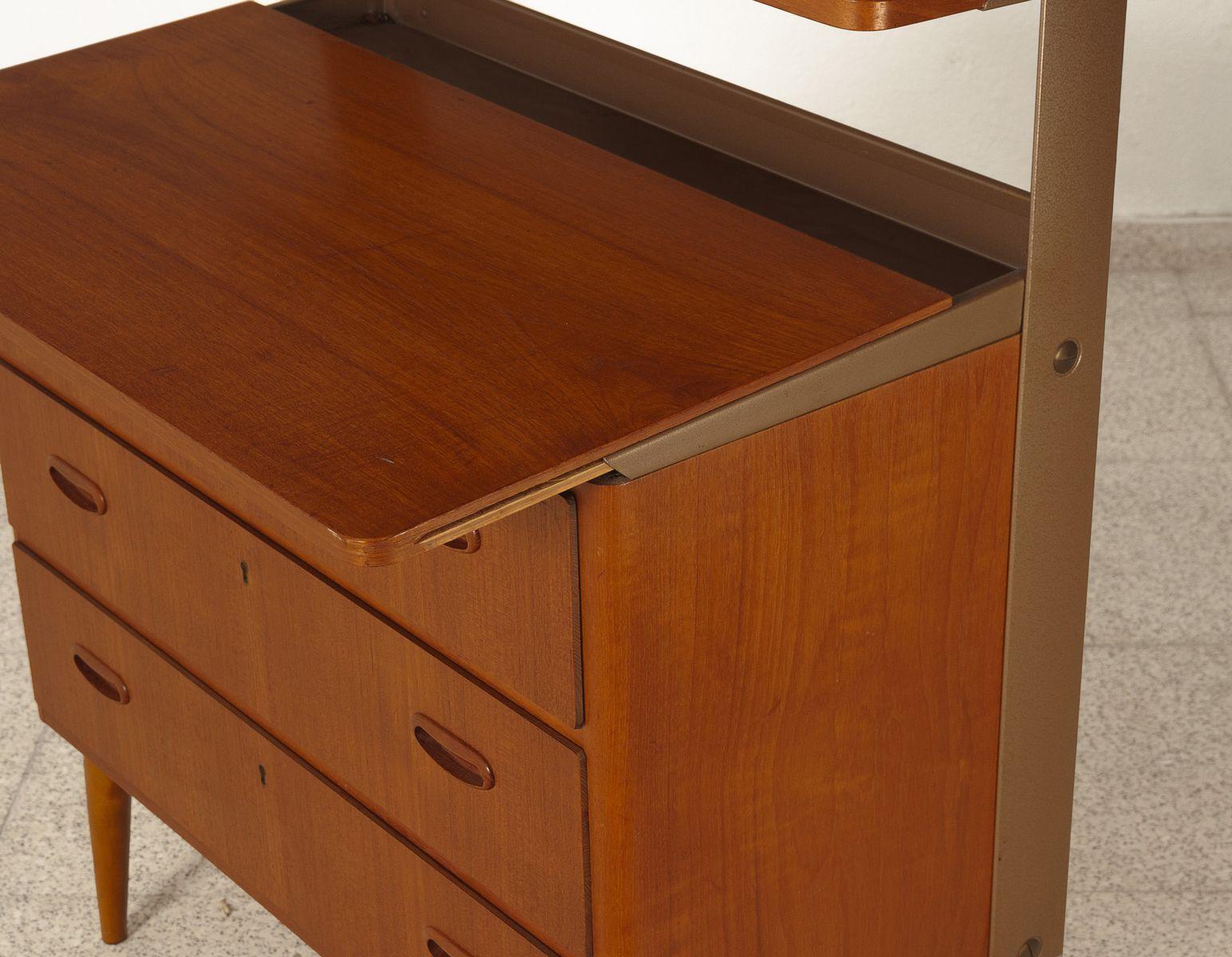 ausziehbare schwedische kommode aus teak metall 1950er bei pamono kaufen. Black Bedroom Furniture Sets. Home Design Ideas