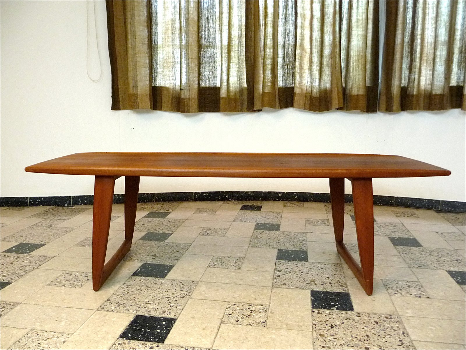 Danish Teak Coffee Table with BoatShaped Top 1960s for sale at Pamono