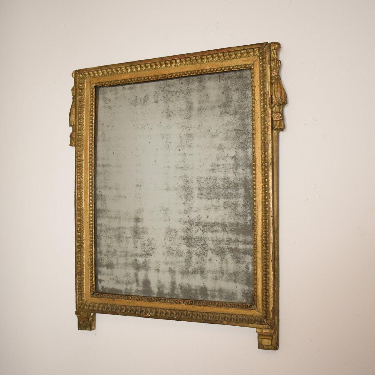 Specchio impero dorato con vetro originale francia in - Specchio dorato antico ...