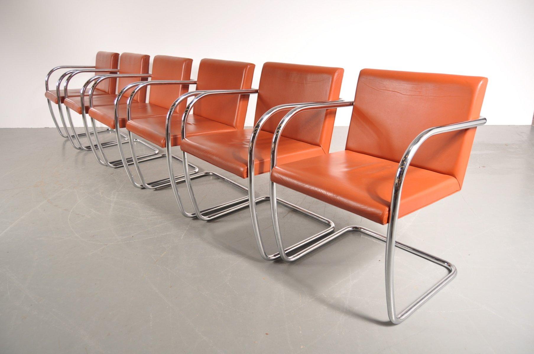 bnro stuhl aus cognacfarbenem leder chrom von ludwig. Black Bedroom Furniture Sets. Home Design Ideas