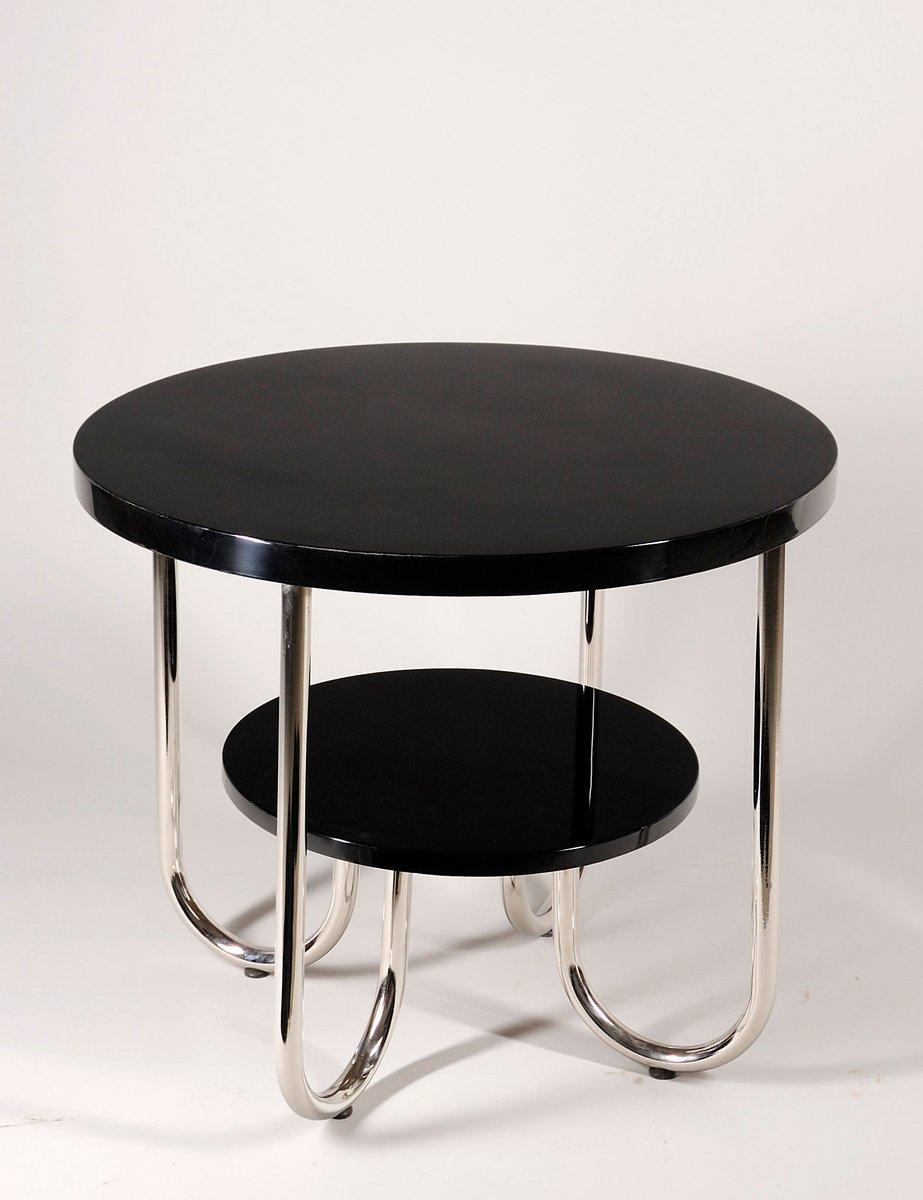 runder vintage chrom tisch mit zwei ablagen von robert slez k company bei pamono kaufen. Black Bedroom Furniture Sets. Home Design Ideas