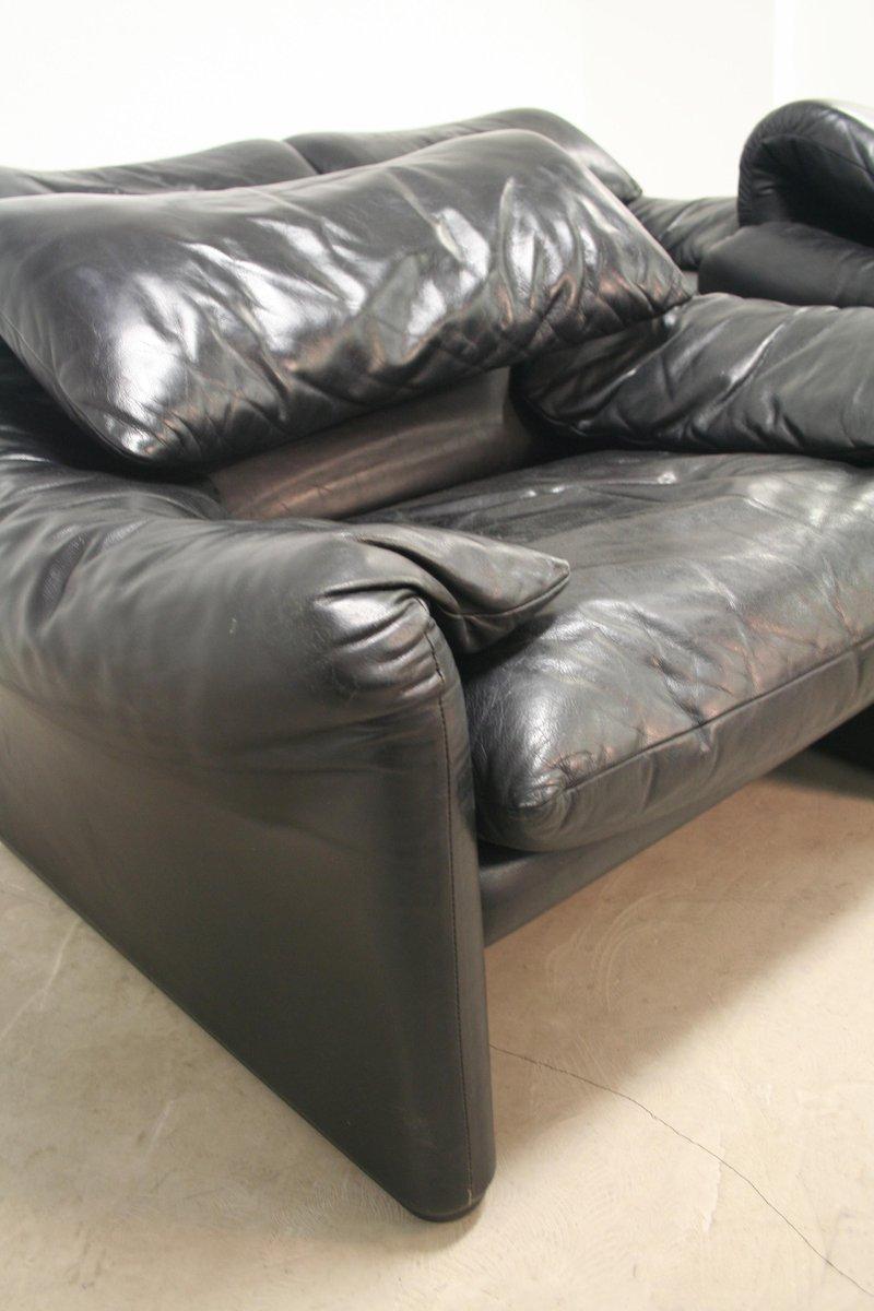 vintage maralunga sofa und sessel von vico magistretti f r cassina 3er set bei pamono kaufen. Black Bedroom Furniture Sets. Home Design Ideas