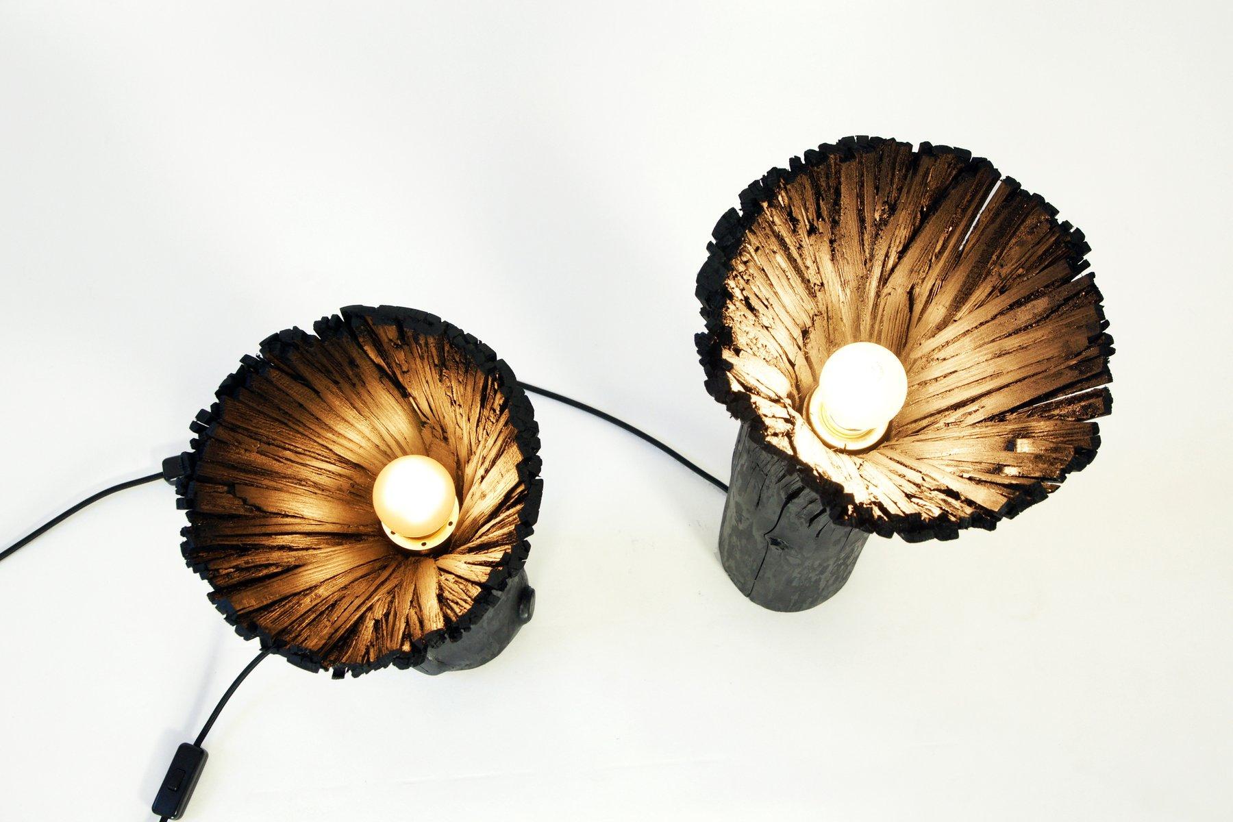 schwarze tischlampe aus gepresstem holz von johannes hemann bei pamono kaufen. Black Bedroom Furniture Sets. Home Design Ideas
