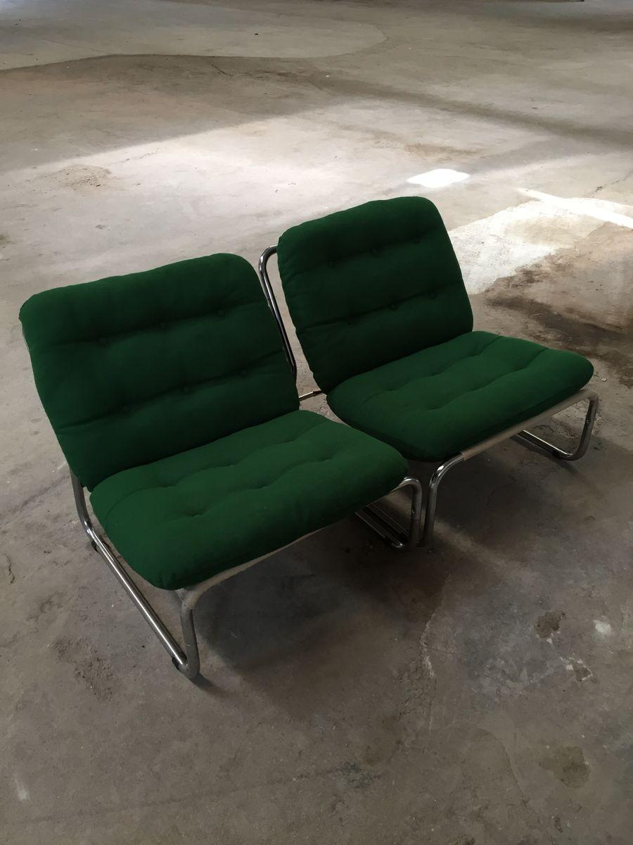 Italienische sessel aus chrom stoff 1970er 6er set bei for Sessel italienisches design