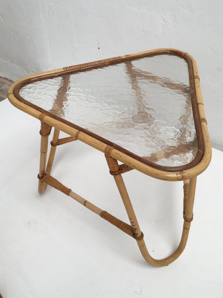 Rattan hocker tisch stuhl mit kunstfell kissen von roh noordwolde 1950er bei pamono kaufen - Essen tisch mit stuhl ...