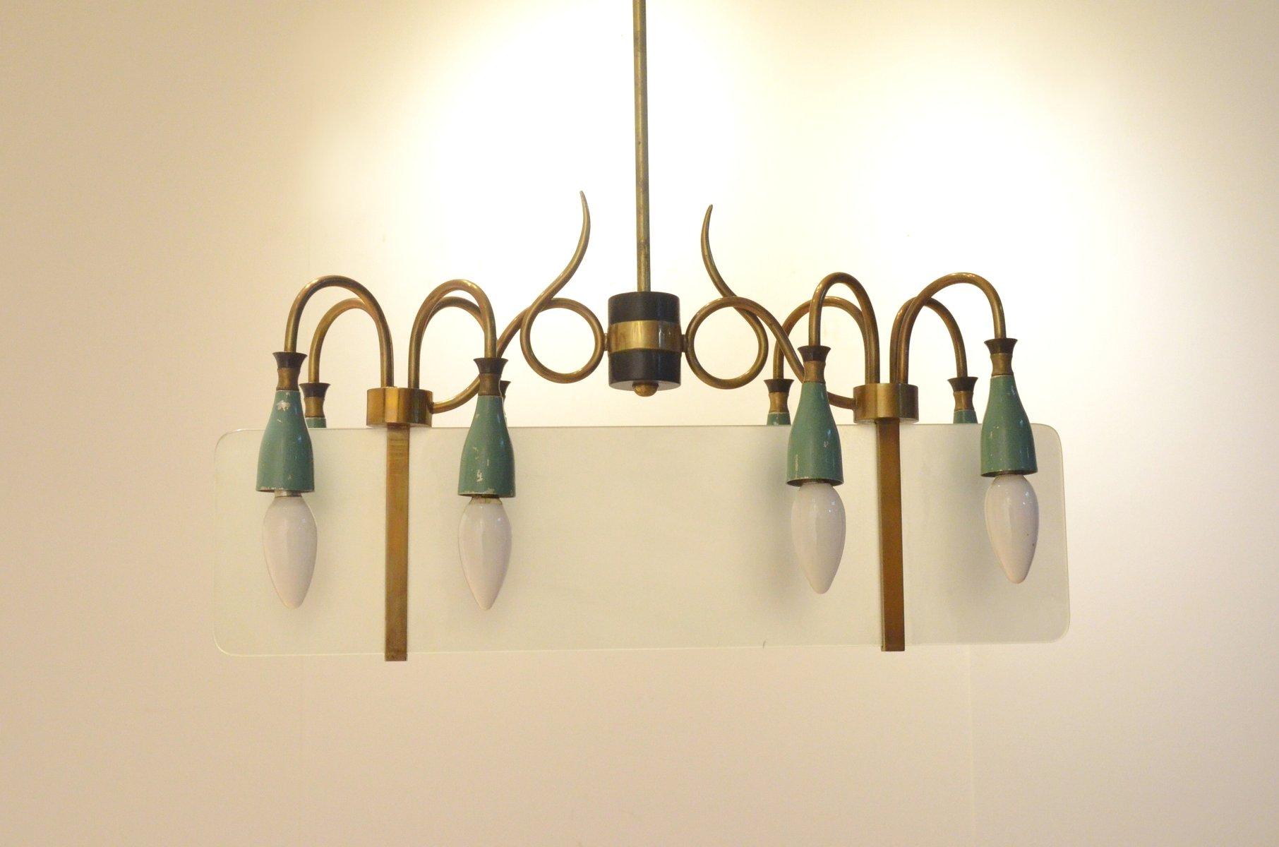chandelier mid century en verre sabl laiton italie en vente sur pamono. Black Bedroom Furniture Sets. Home Design Ideas