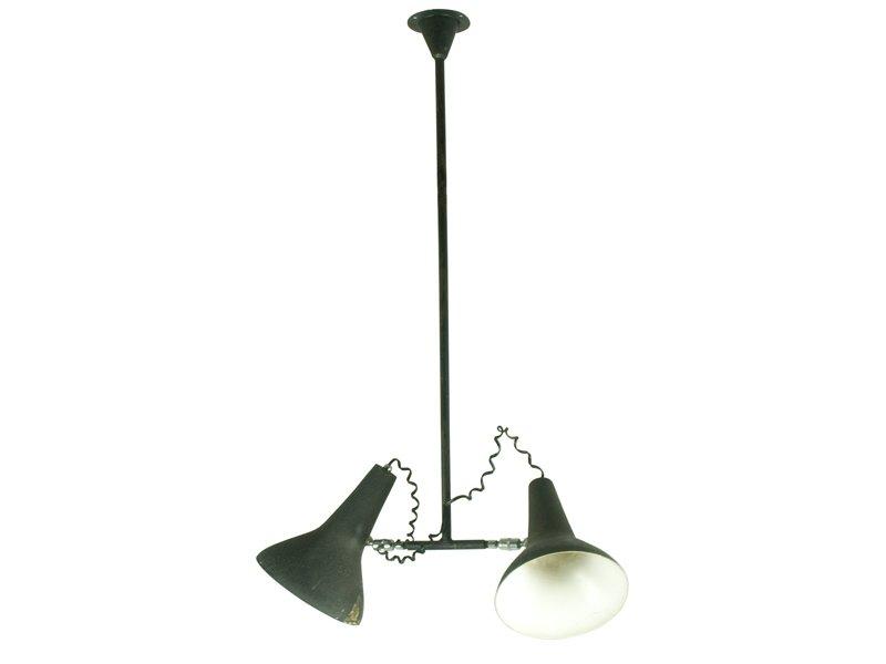 industrielle h ngelampe mit verstellbaren schirmen 1950er bei pamono kaufen. Black Bedroom Furniture Sets. Home Design Ideas