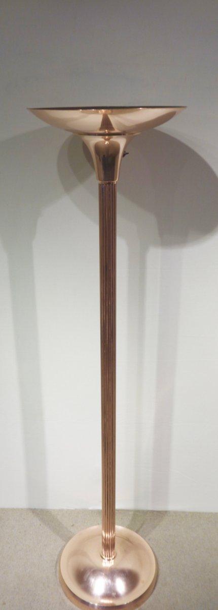 art d co kupfer stehlampe 1930er bei pamono kaufen. Black Bedroom Furniture Sets. Home Design Ideas
