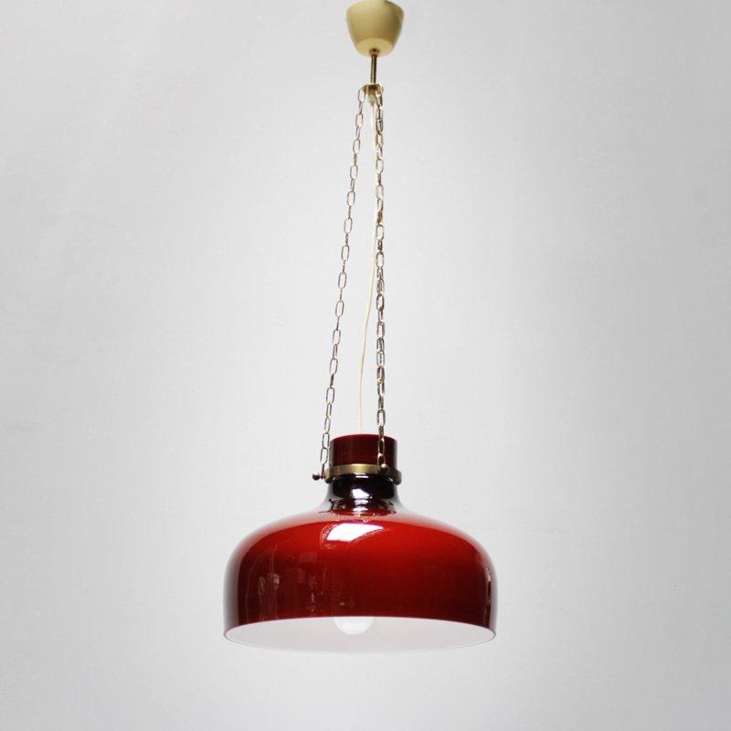 Vintage Red Pendant Light From Holmegaard