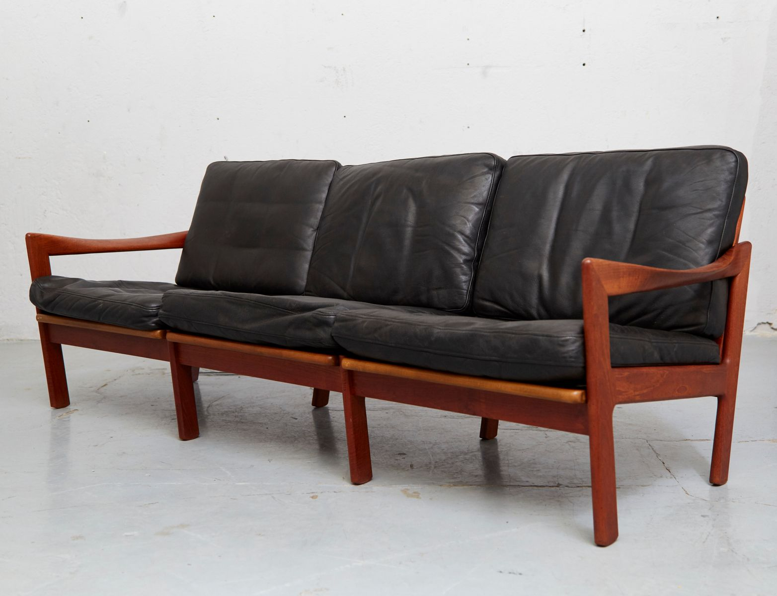 Mid Century Teak U0026 Leather Sofa By Illum Wikkelsø For Niels Eilersen