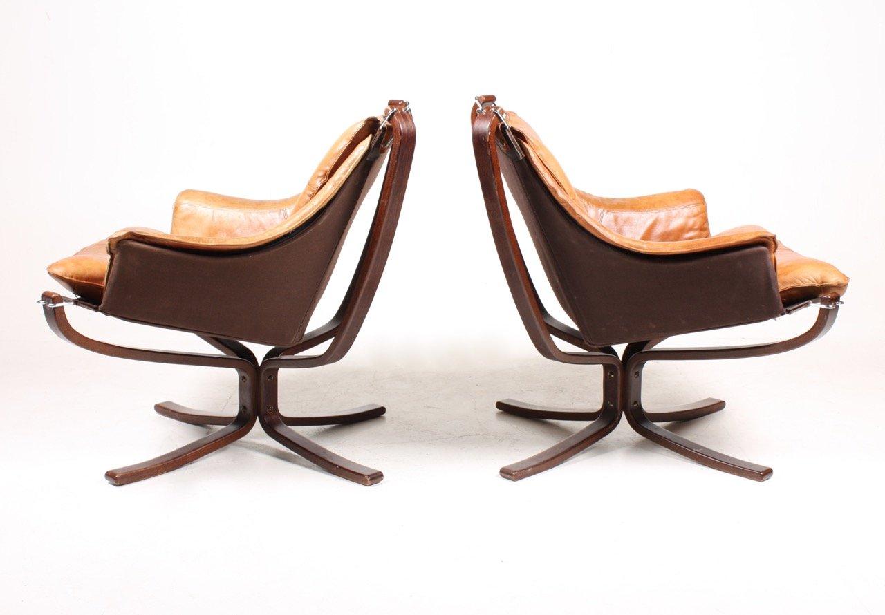 leder falcon st hle von sigurd resell f r vatne 1970er. Black Bedroom Furniture Sets. Home Design Ideas