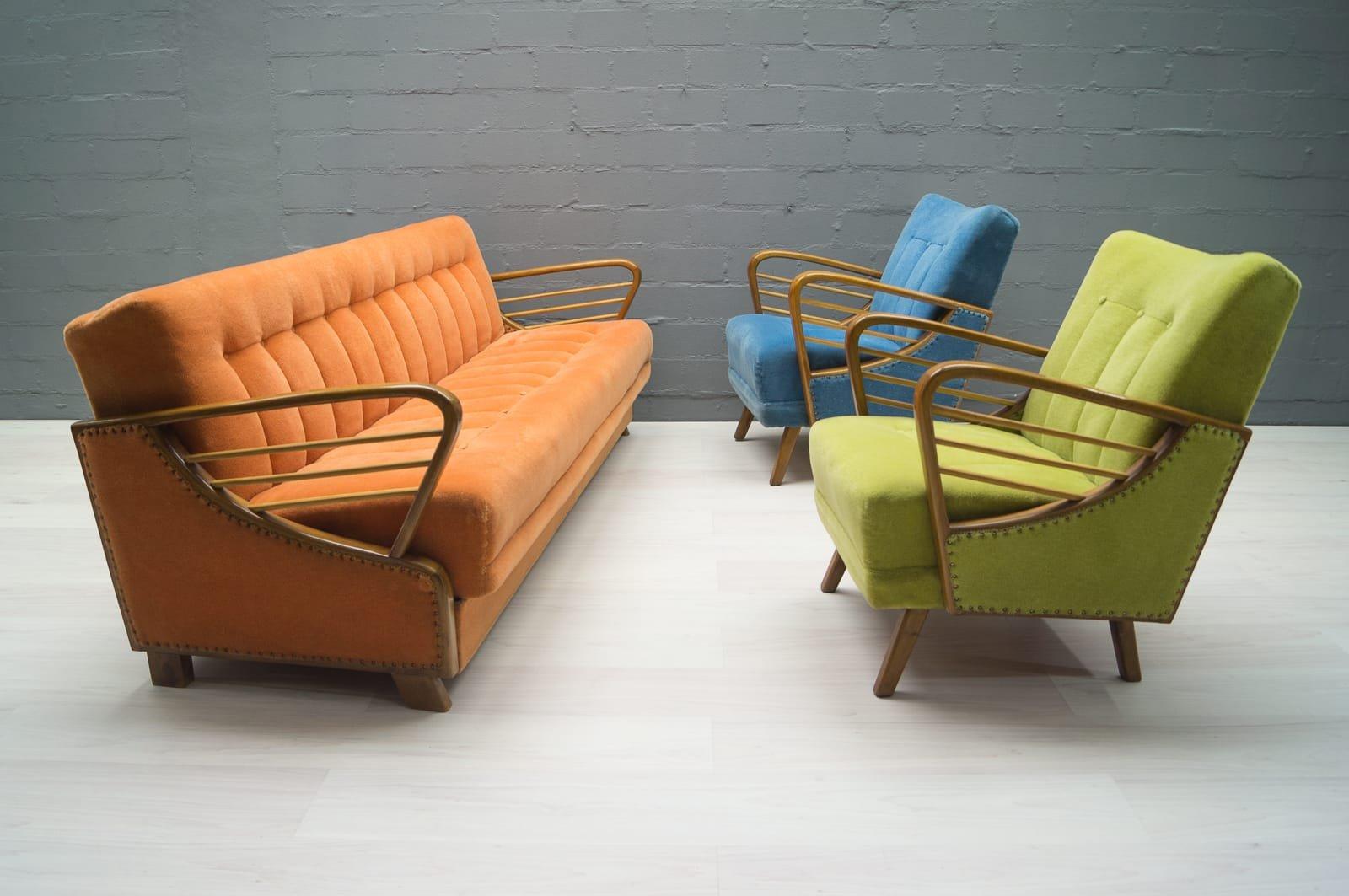 Divano letto vintage arancione anni 39 50 in vendita su pamono for Divano anni 50