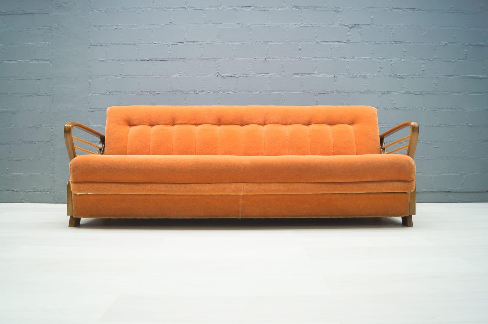 Divano letto vintage arancione anni 39 50 in vendita su pamono - Divano letto retro ...