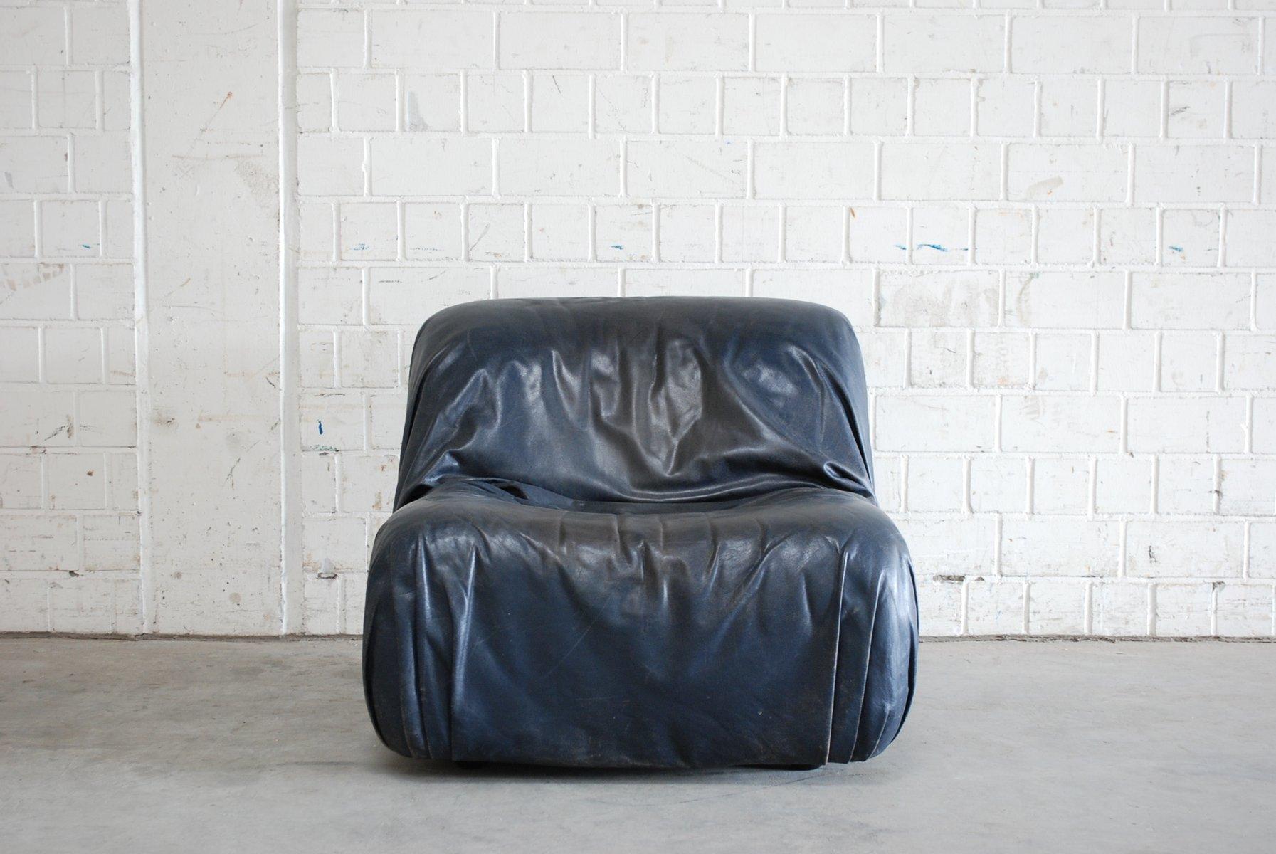 vintage ledersessel in dunkelblau von de sede bei pamono kaufen. Black Bedroom Furniture Sets. Home Design Ideas