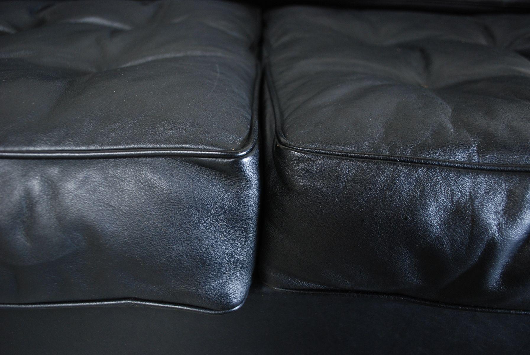 schwarzes vintage vier sitzer ledersofa von de sede 1967 bei pamono kaufen. Black Bedroom Furniture Sets. Home Design Ideas