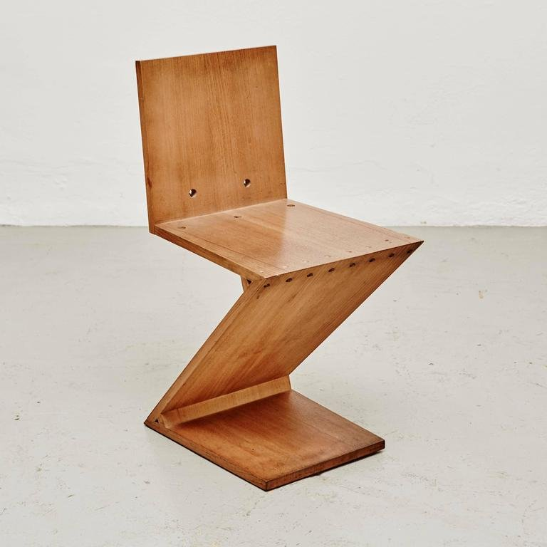 zig zag chair by gerrit rietveld for metz co 1968 for sale at pamono. Black Bedroom Furniture Sets. Home Design Ideas