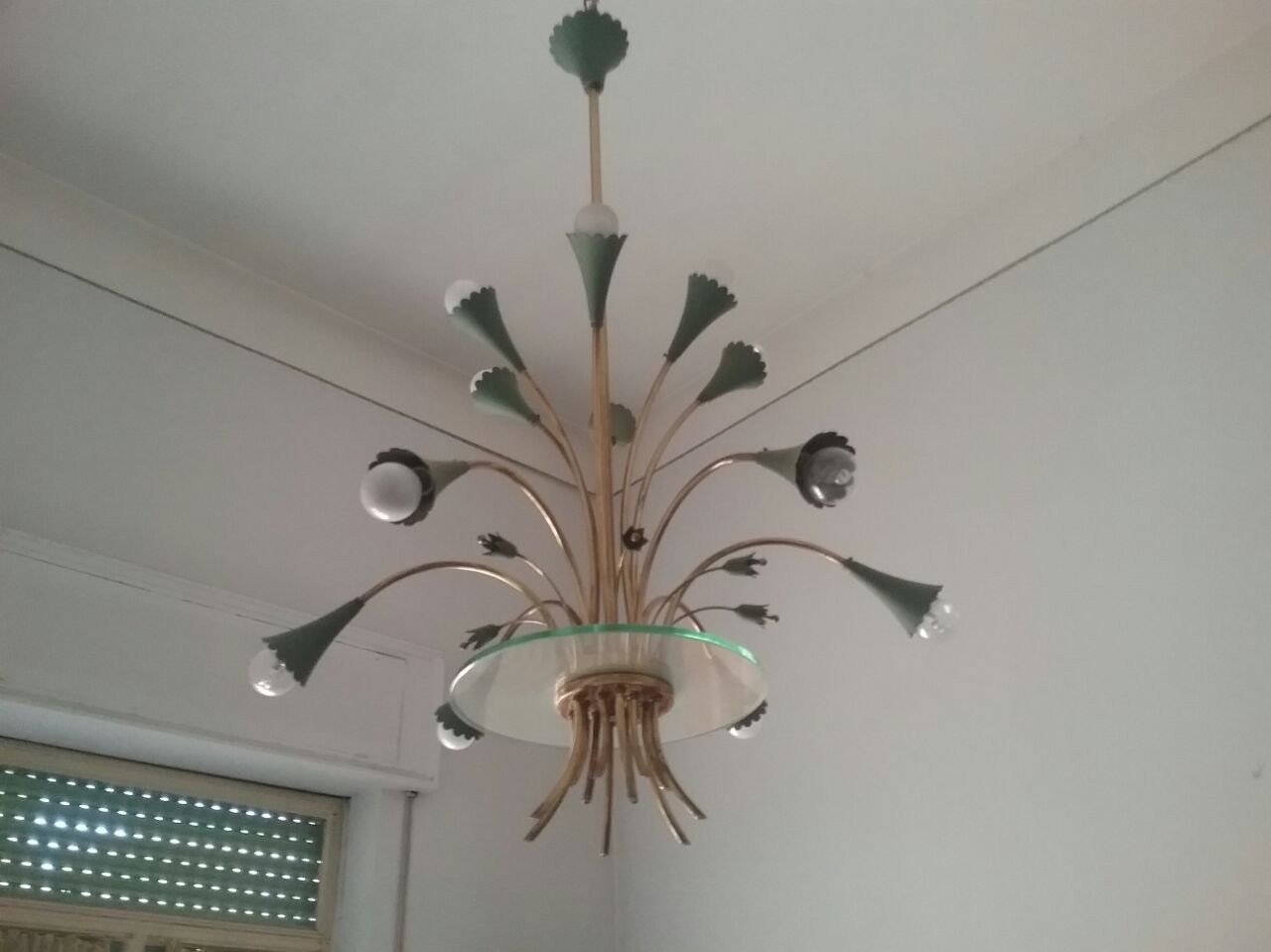 Vintage brass green metal chandelier 1950s for sale at pamono arubaitofo Choice Image