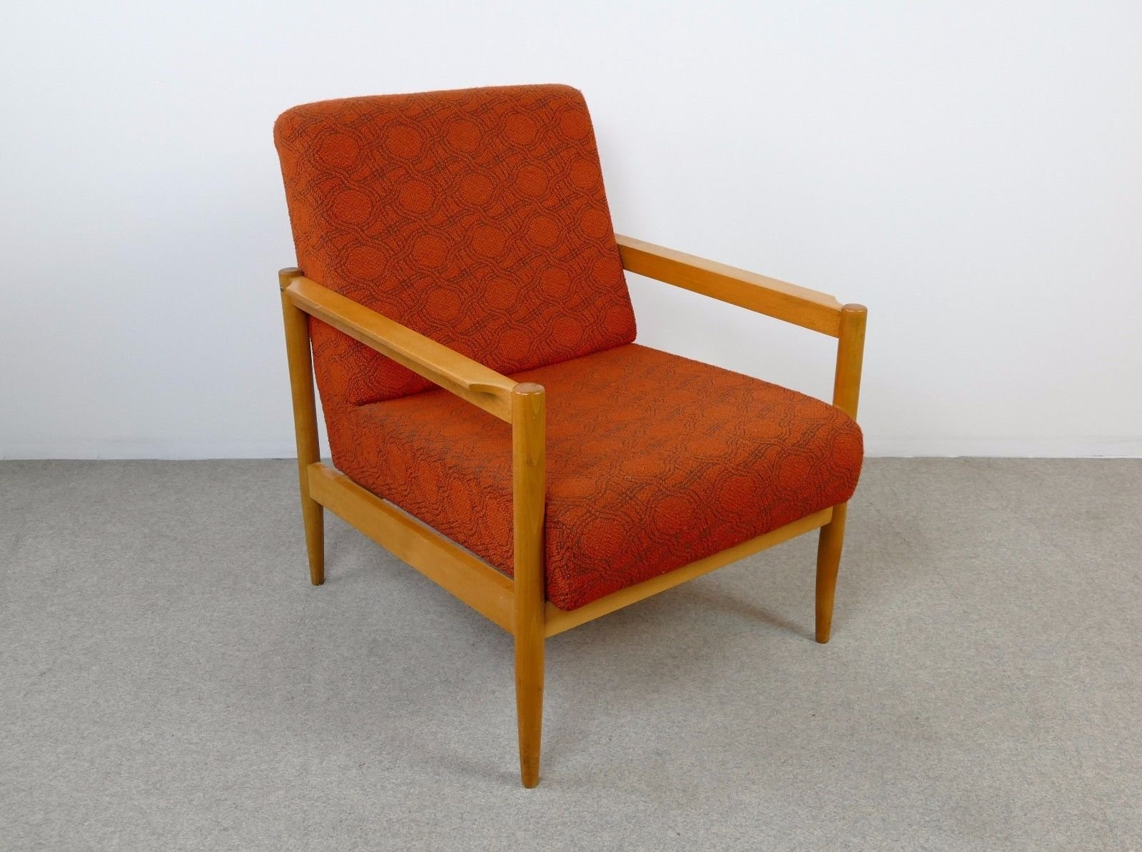 Mid Century Orange Armchair, 1960s For Sale At Pamono