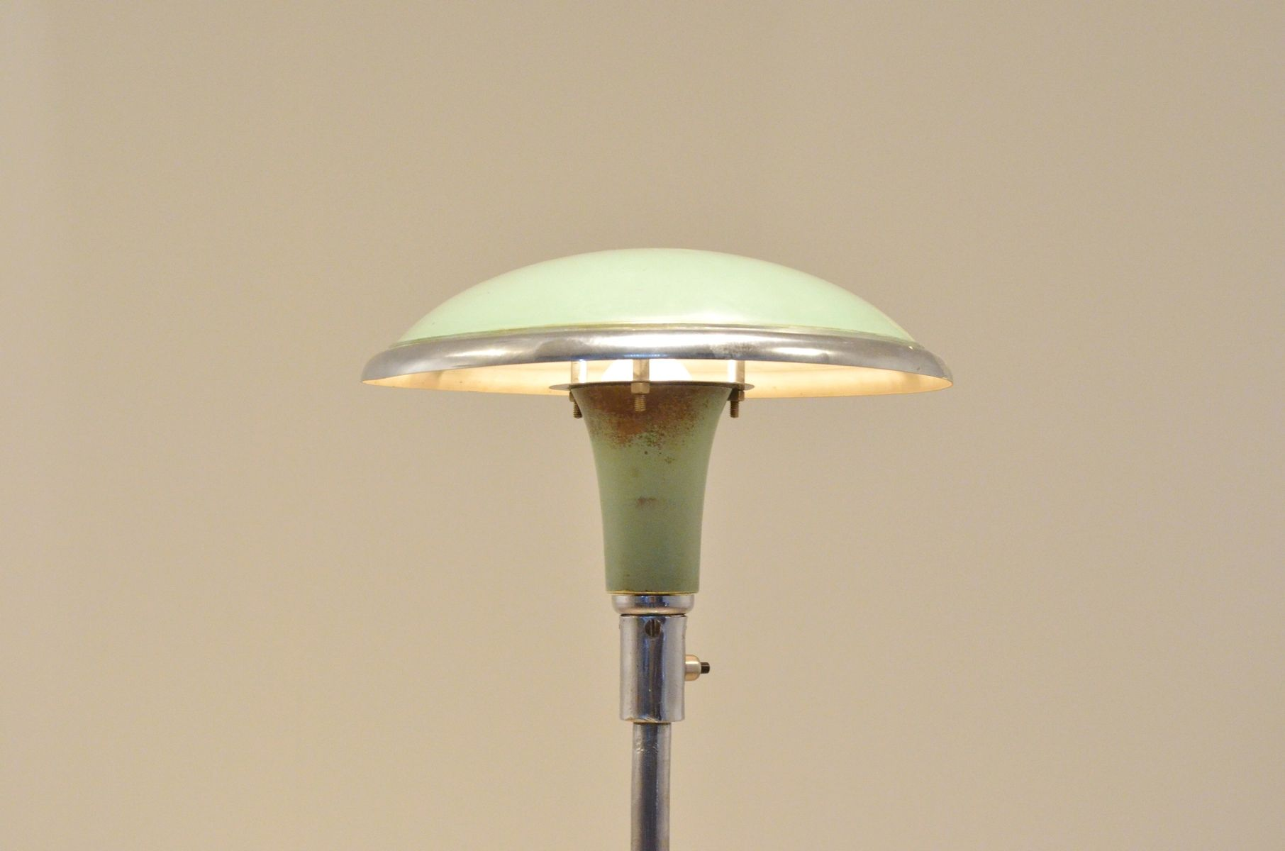 bauhaus pastel green chrome adjustable sellette lamp for sale at pamono. Black Bedroom Furniture Sets. Home Design Ideas