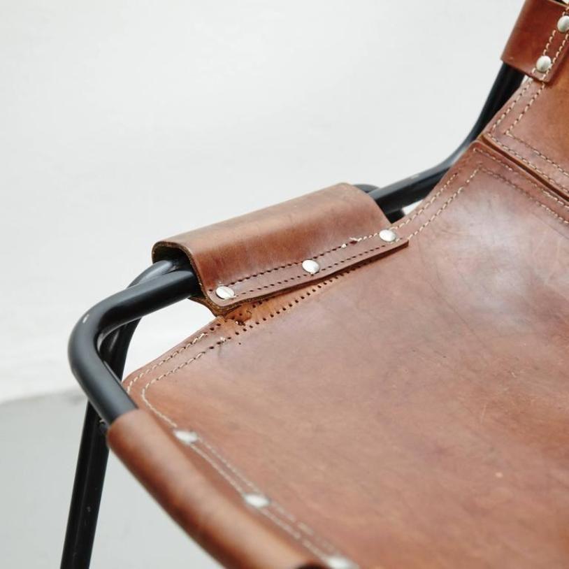 chaise vintage avec si ge en cuir 1970s en vente sur pamono. Black Bedroom Furniture Sets. Home Design Ideas