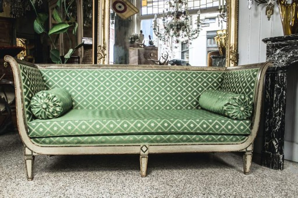 Empire Sofa antique empire sofa with green silk upholstery for sale at pamono