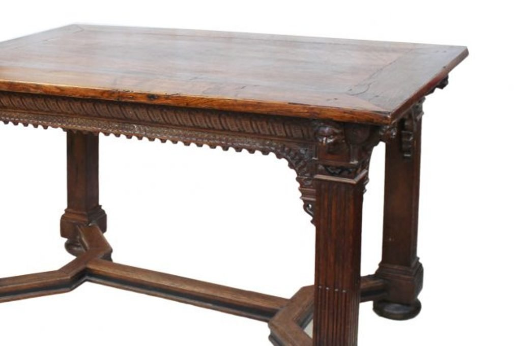 Perfect Gothic Style Carved Oak Table For Sale At Pamono