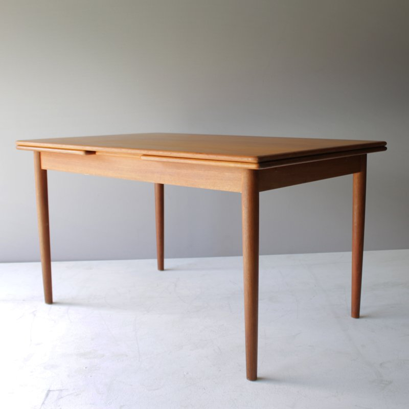 Vintage Danish Teak Dining Room Table With Two Leaves For