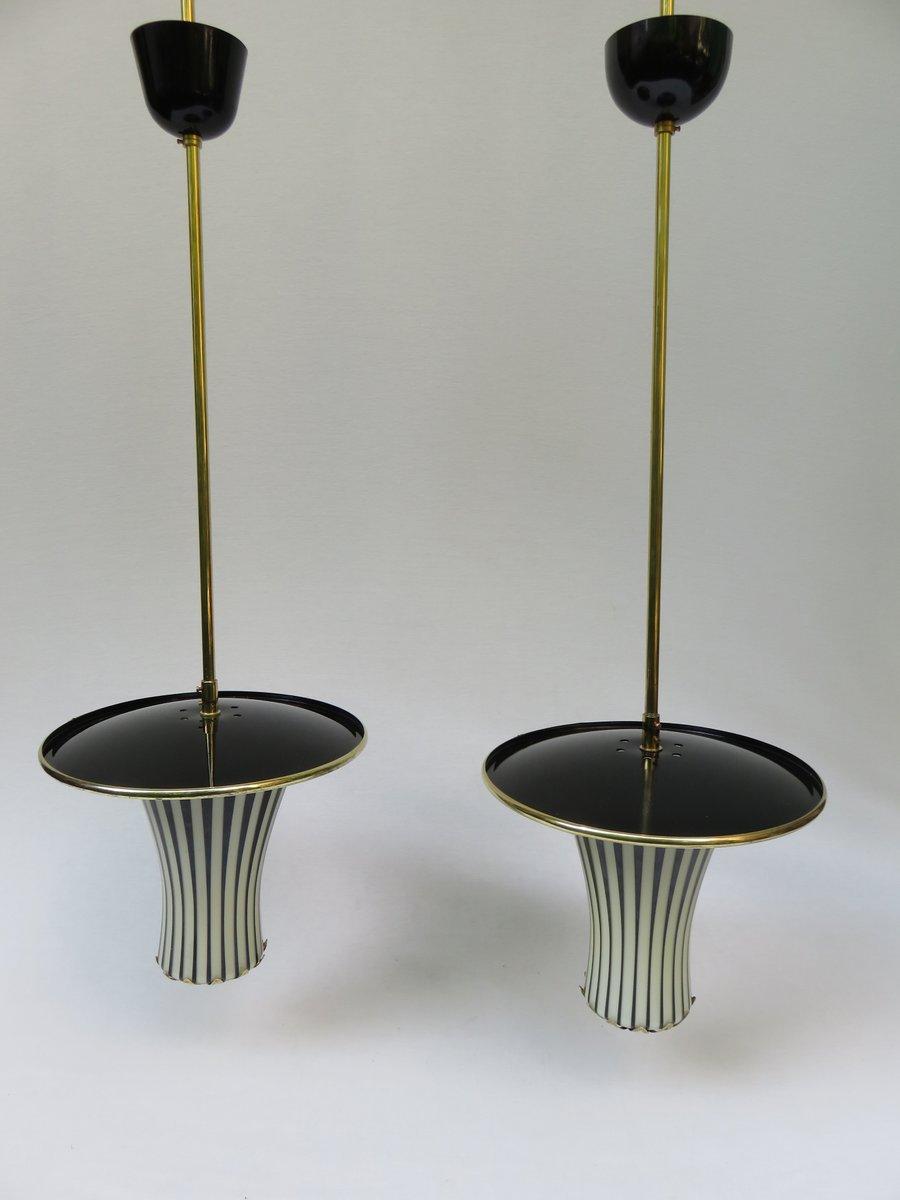 schwarz wei e italienische h ngelampen 1950er 2er set bei pamono kaufen. Black Bedroom Furniture Sets. Home Design Ideas