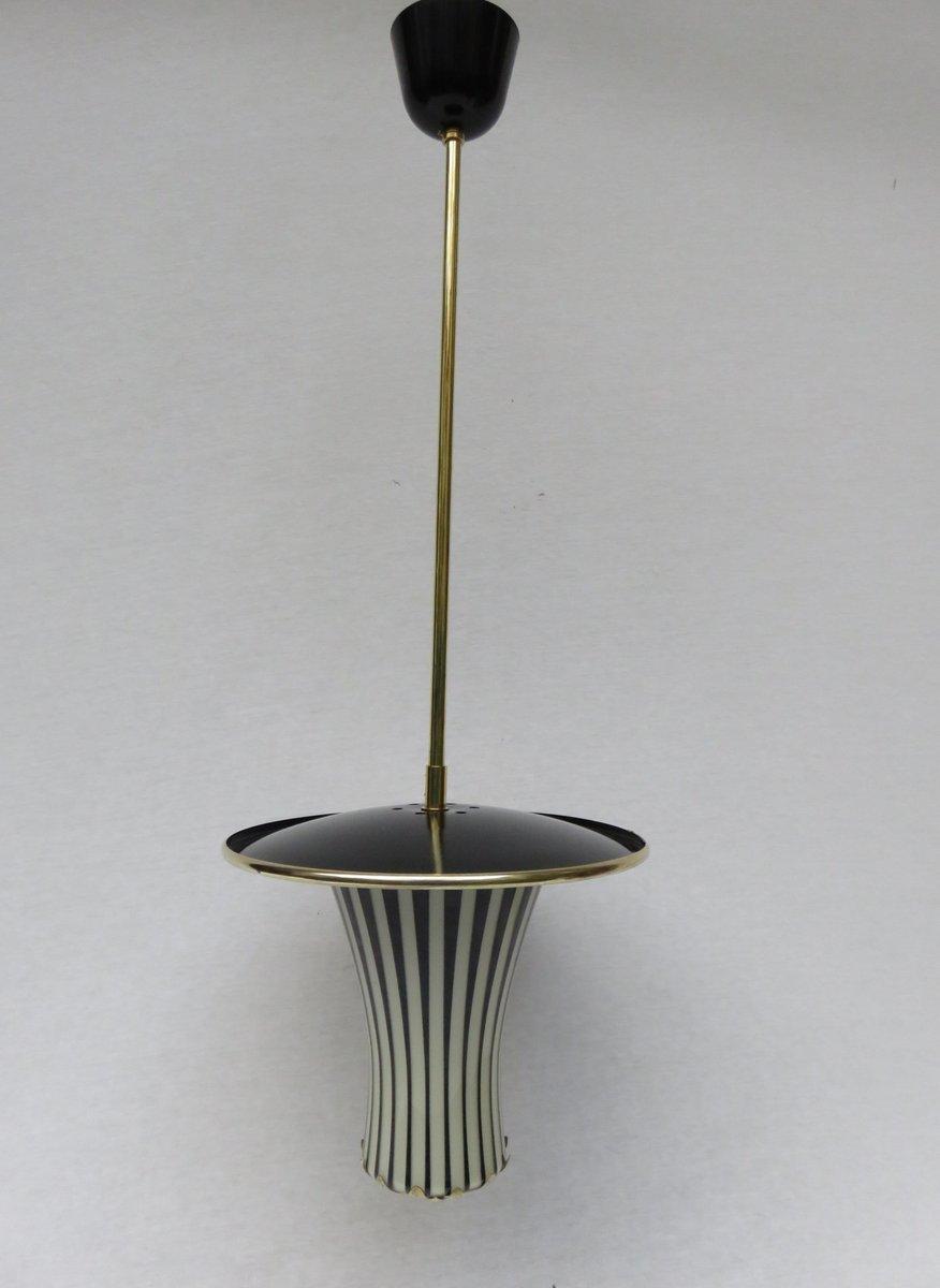 schwarz wei e italienische h ngelampen 1950er 2er set. Black Bedroom Furniture Sets. Home Design Ideas