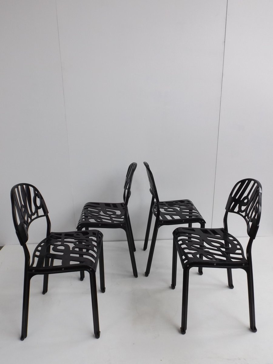 schwarze vintage hello there st hle von jeremy harvey f r artifort 4er set bei pamono kaufen. Black Bedroom Furniture Sets. Home Design Ideas