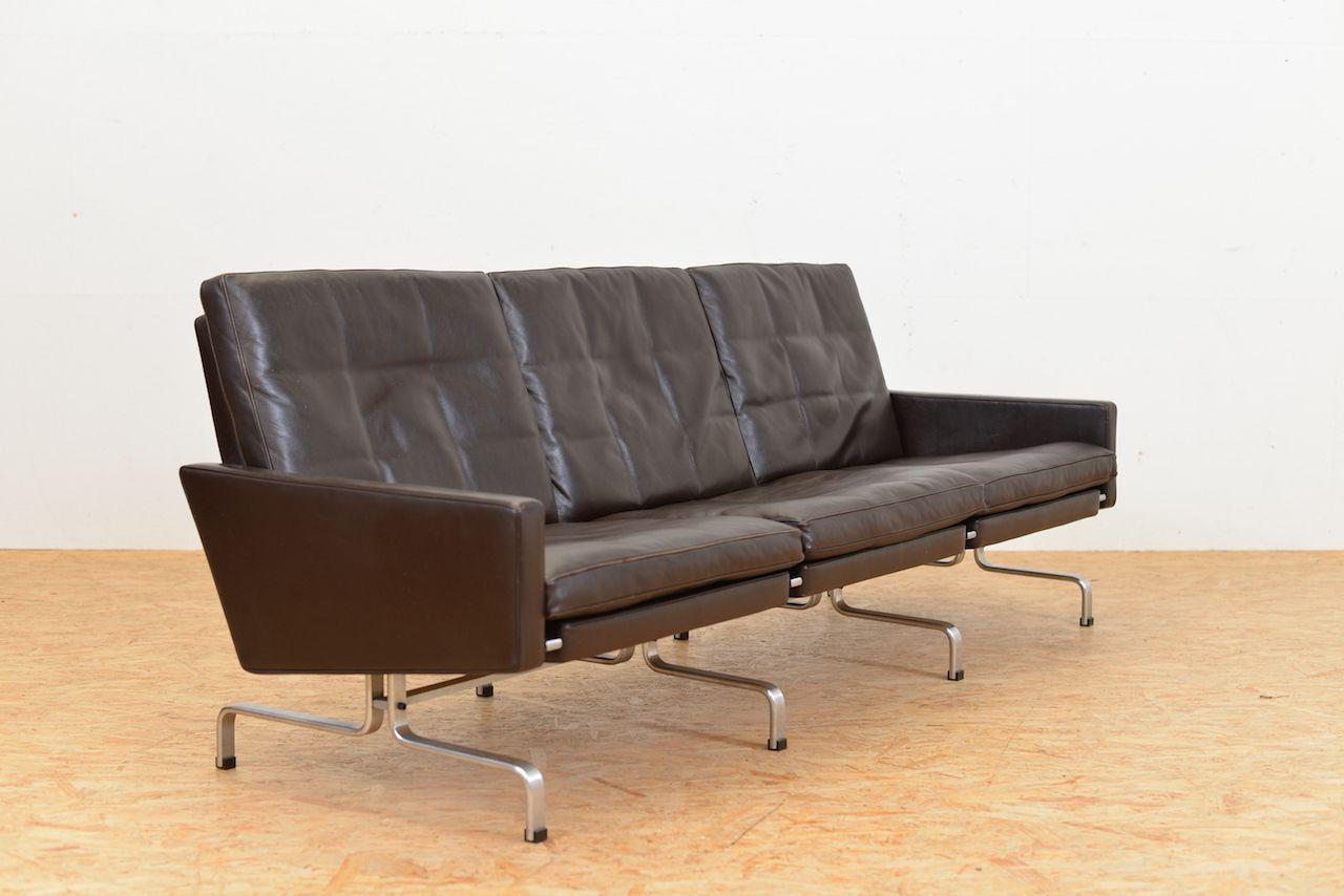 mid century drei sitzer ledersofa von poul kj rholm f r fritz hansen bei pamono kaufen. Black Bedroom Furniture Sets. Home Design Ideas