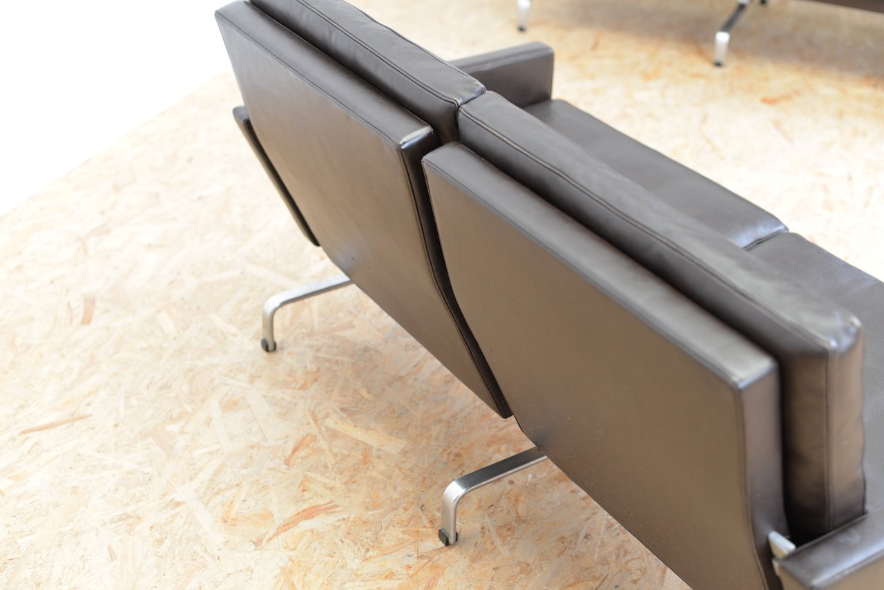 mid century zwei sitzer ledersofa von poul kj rholm f r fritz hansen bei pamono kaufen. Black Bedroom Furniture Sets. Home Design Ideas