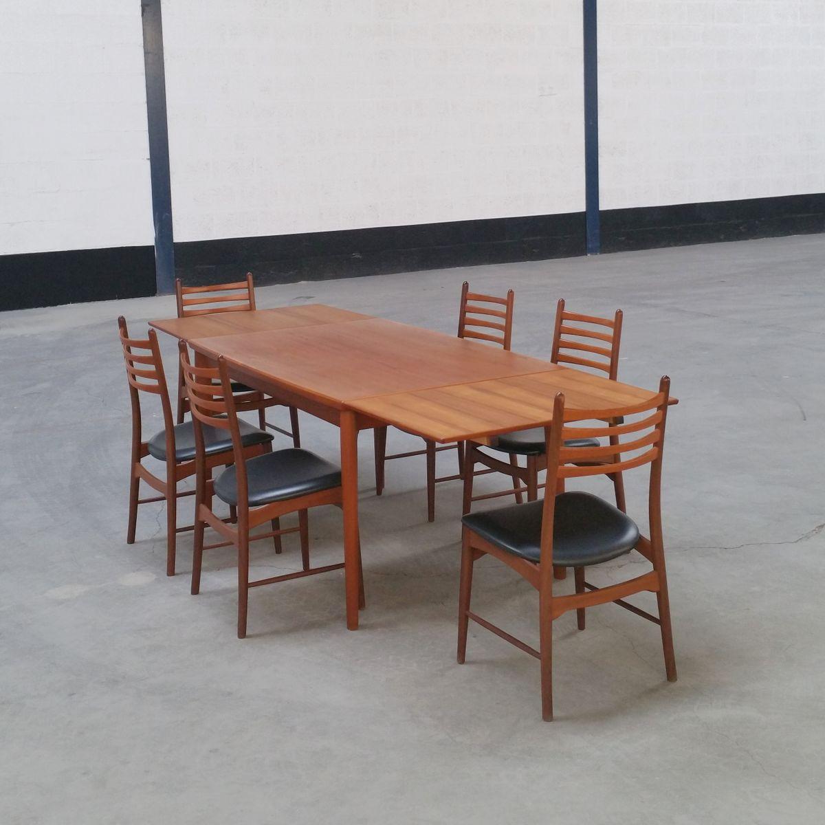 set de salle manger vintage scandinavie 1960s en vente sur pamono. Black Bedroom Furniture Sets. Home Design Ideas