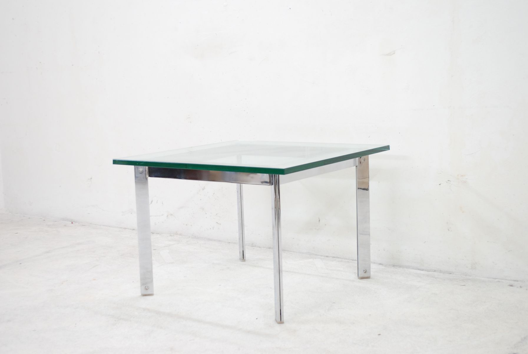 Vintage Glass & Chrome Coffee Table for sale at Pamono
