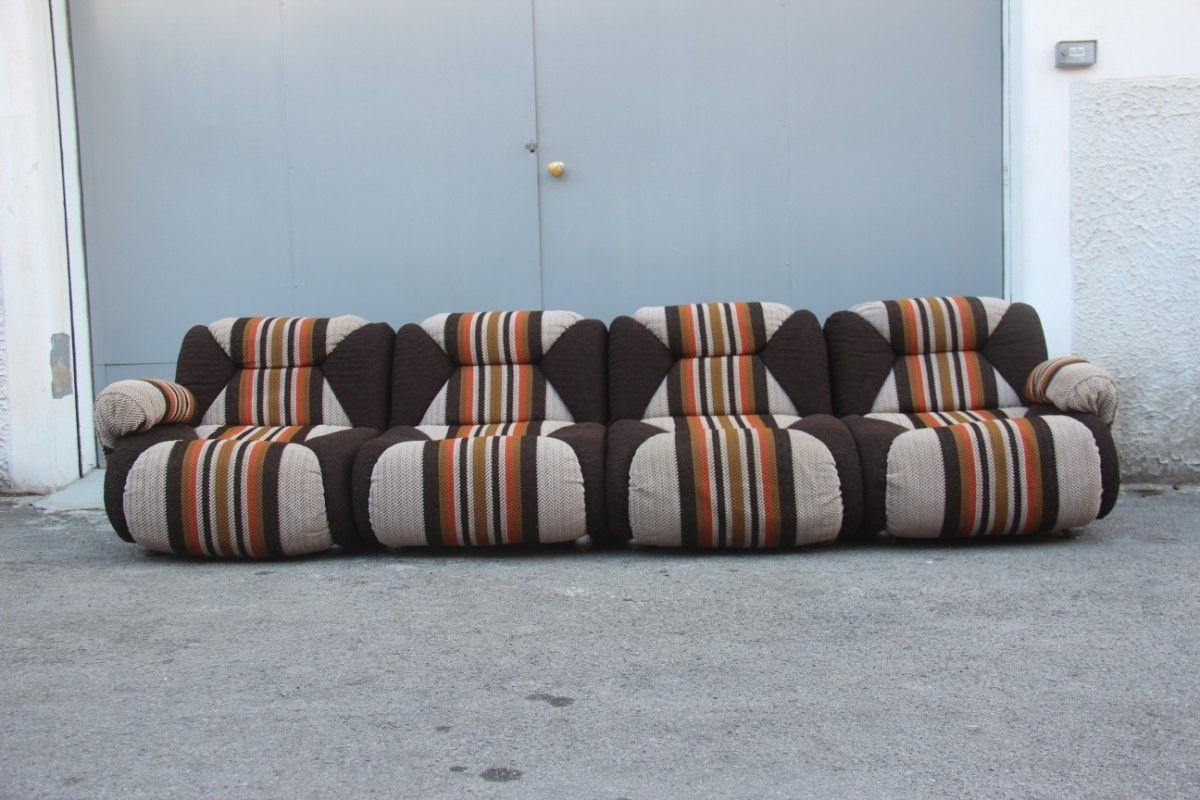 Superior Italian Modular Wool Sofa, 1960s