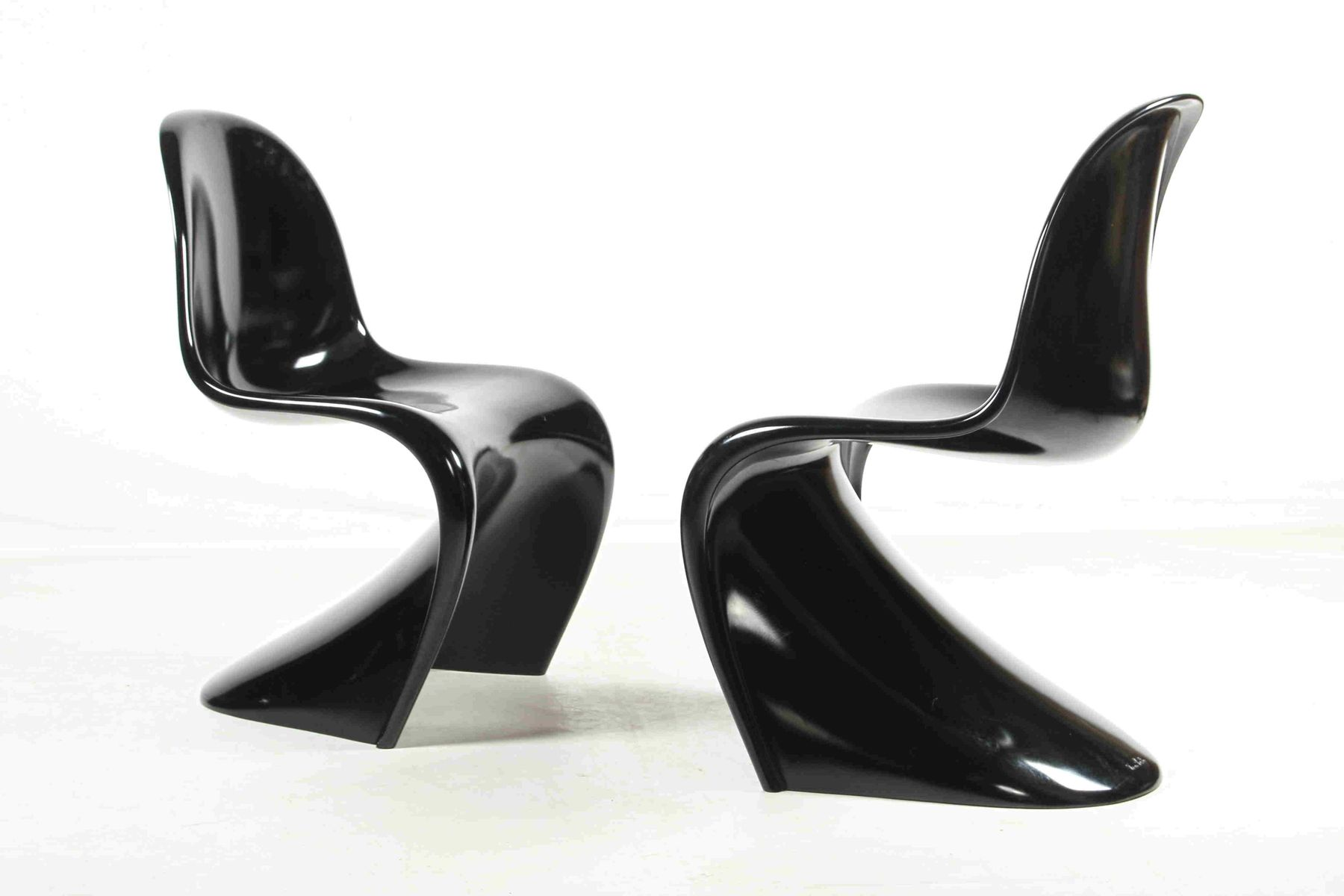 polyurethan st hle in schwarz von verner panton f r wk m bel 1986 2er set bei pamono kaufen. Black Bedroom Furniture Sets. Home Design Ideas