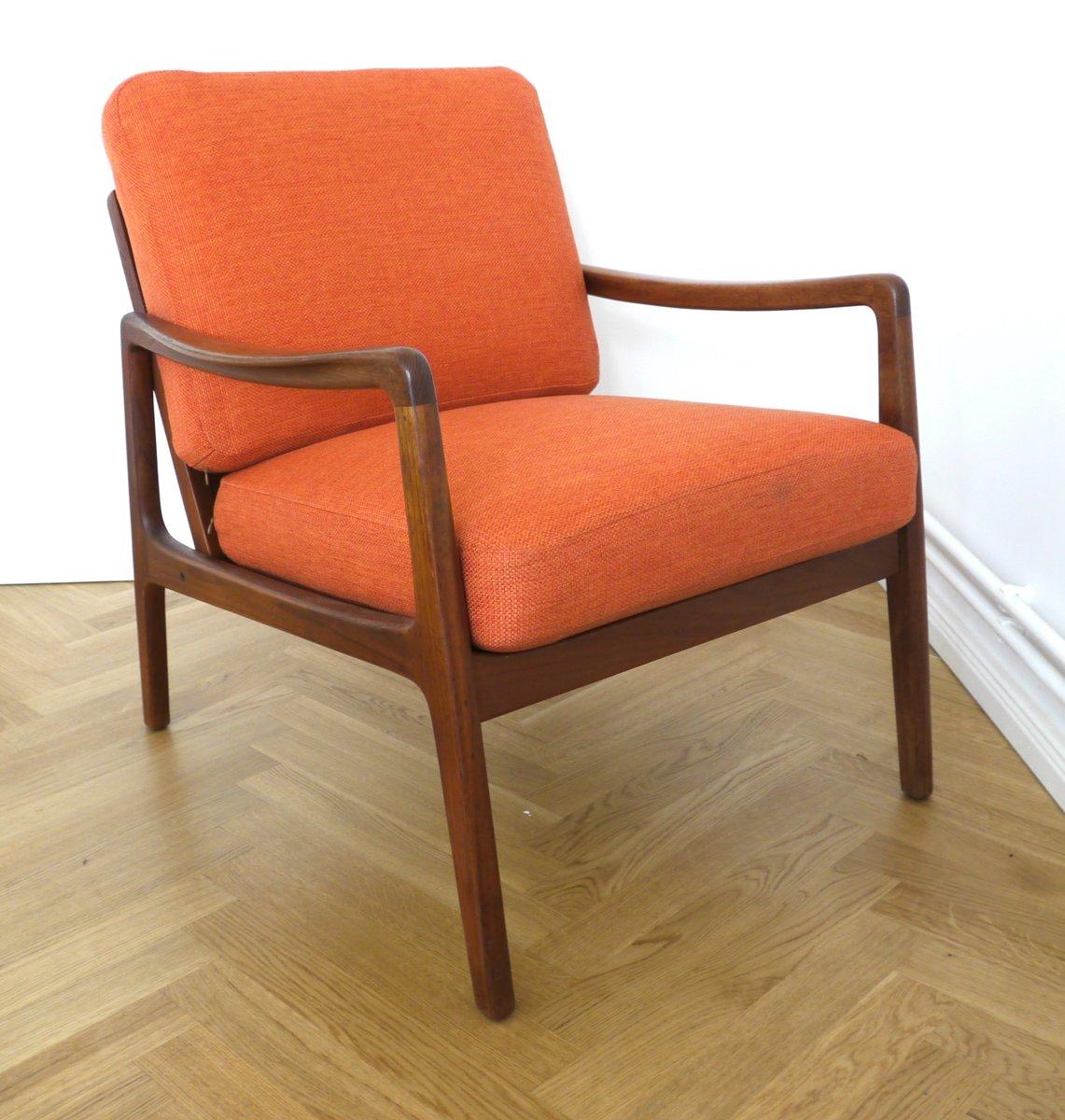 Mid Century FD109 Orange Teak Easy Lounge Chair By Ole Wanscher For France  U0026 Søn