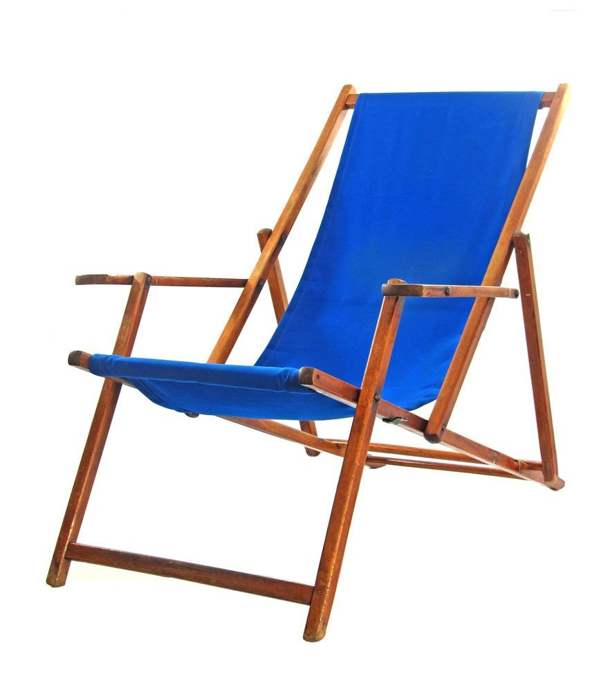 - Blue Vintage Adjustable Beach Chair For Sale At Pamono