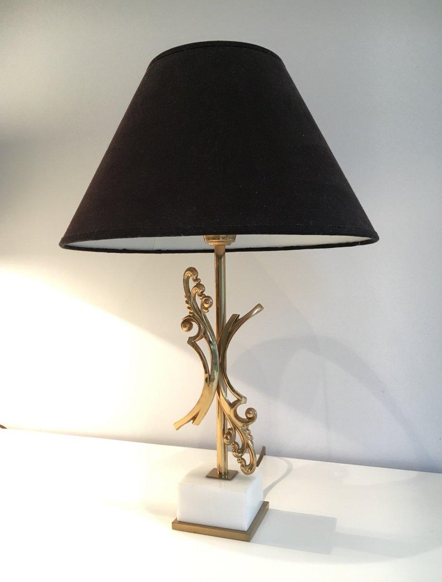 messing lampen mit wei en marmor gestellen 1970er 2er. Black Bedroom Furniture Sets. Home Design Ideas
