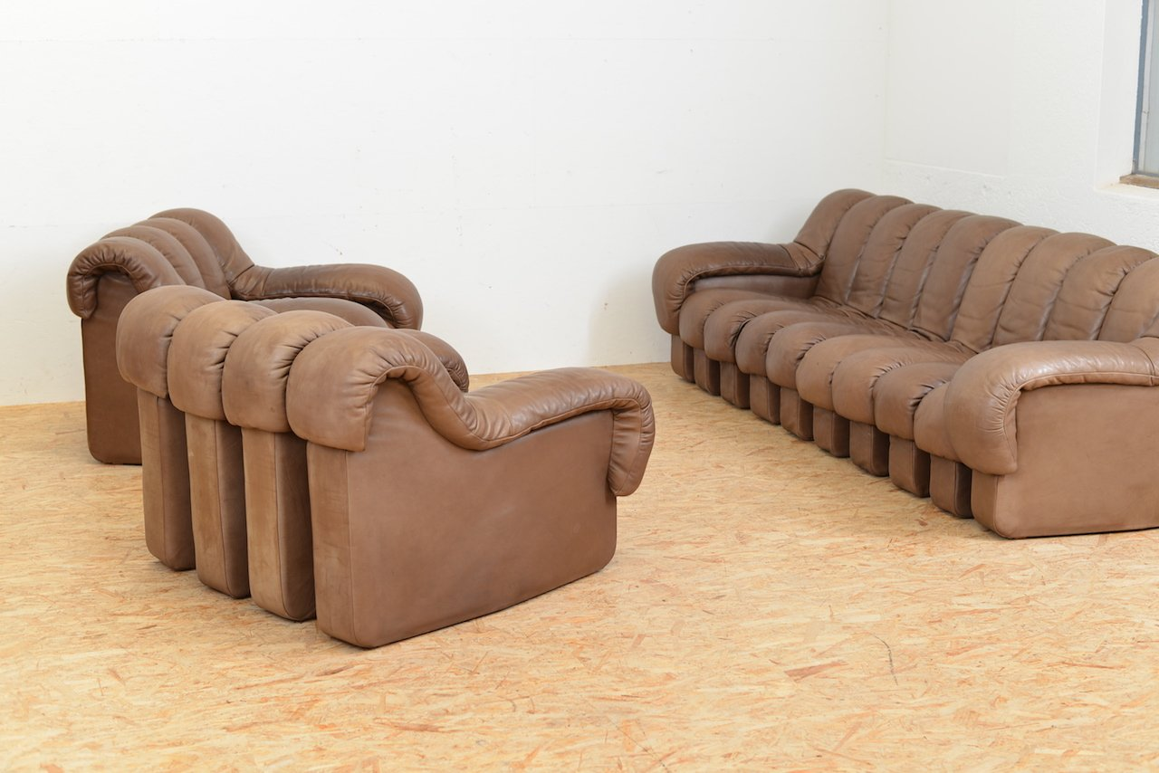 Vintage DS 600 Tatzelwurm Leather Sofa Set By Berger, Peduzzi Riva, Ulrich  U0026 Vogt For De Sede