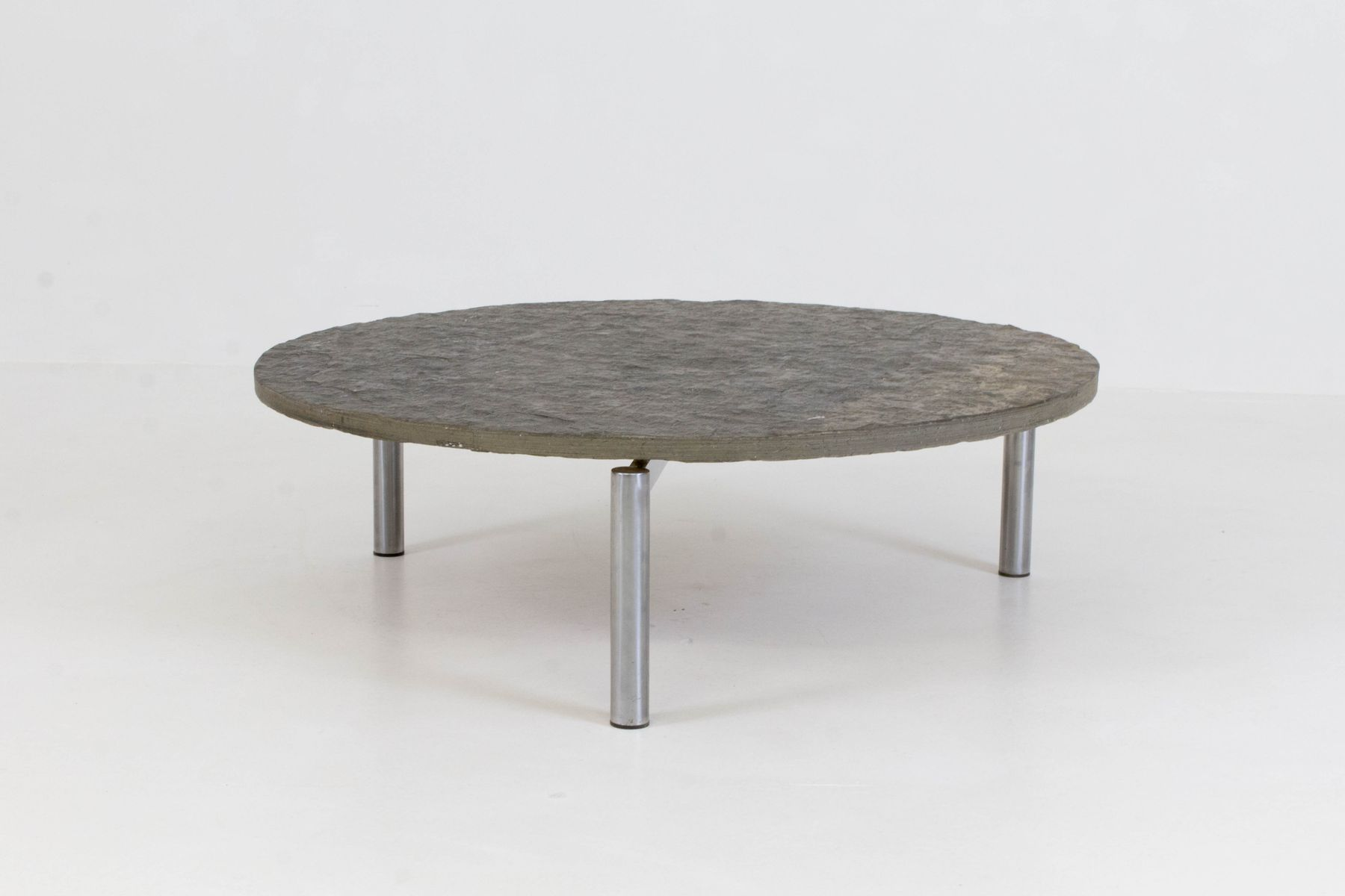 Brutalist MidCentury Slate Top Coffee Table 1970s for sale at Pamono