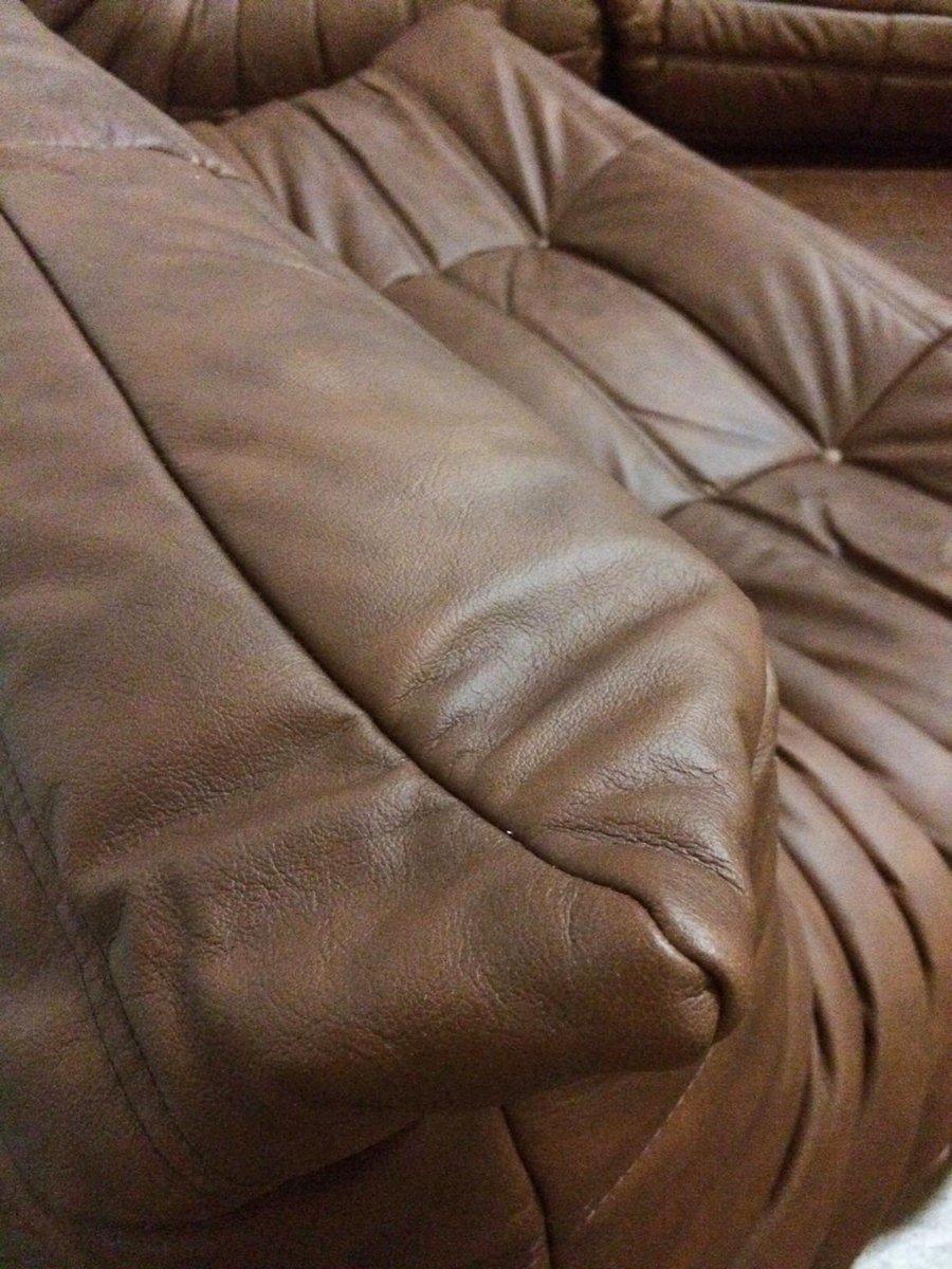 mobilier de salon togo vintage en cuir par michel ducaroy pour ligne roset en vente sur pamono. Black Bedroom Furniture Sets. Home Design Ideas