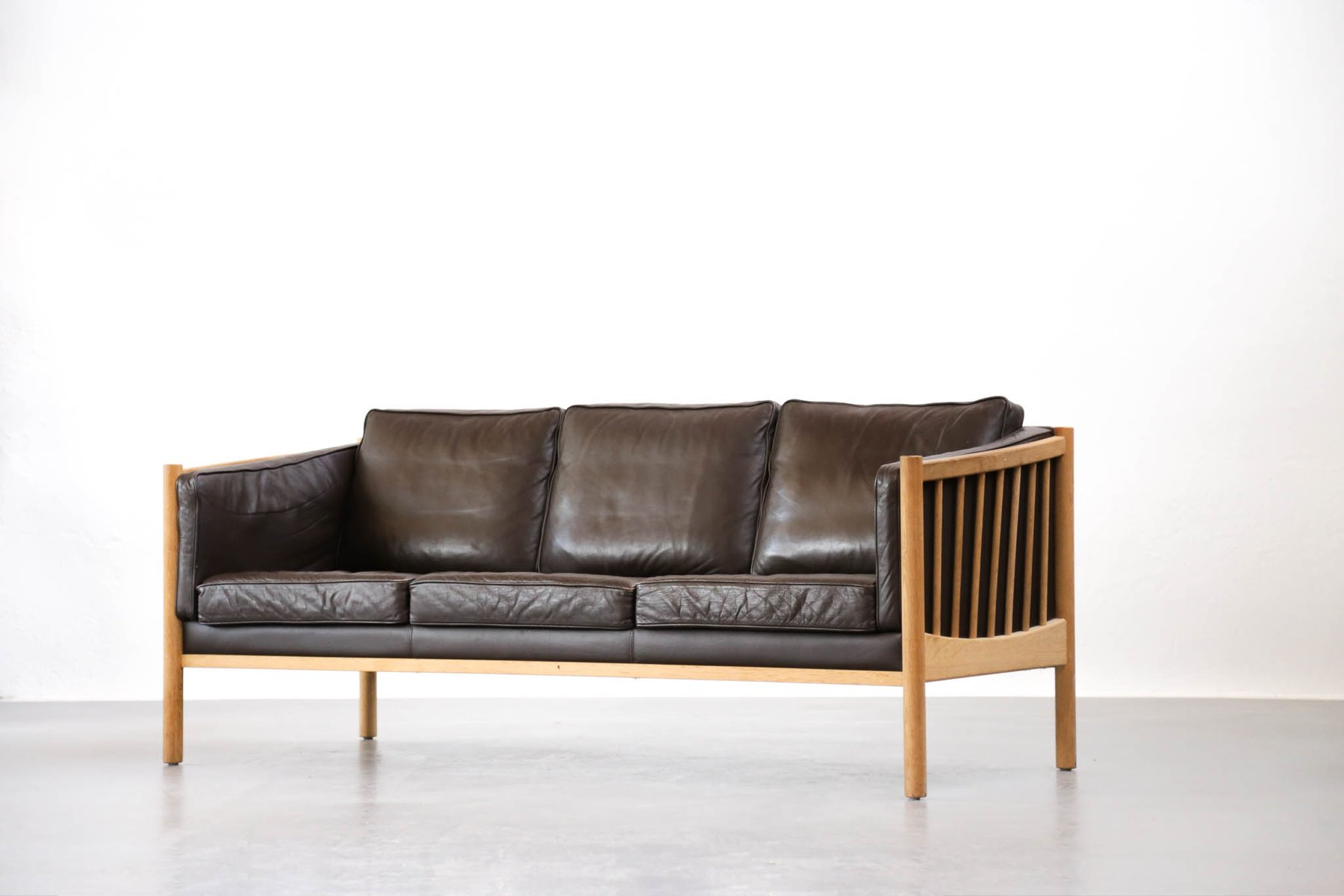 Mid Century Scandinavian Brown Leather Sofa, 1970s For Sale At Pamono