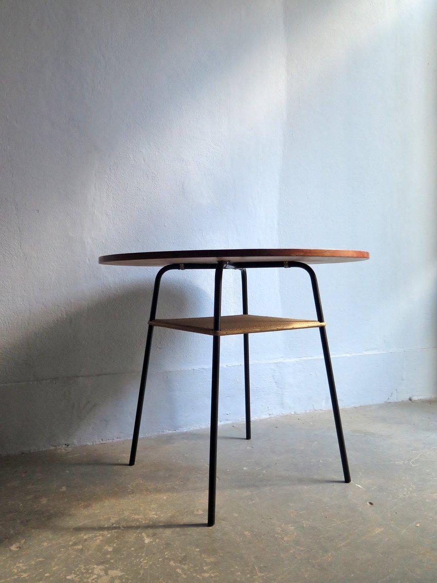 Mid century teak rattan metall tisch bei pamono kaufen for Metall tisch
