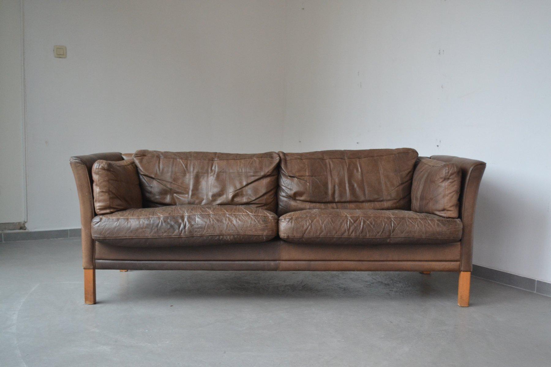 braunes 3 sitzer sofa von mogens hansen 1960er bei pamono kaufen. Black Bedroom Furniture Sets. Home Design Ideas