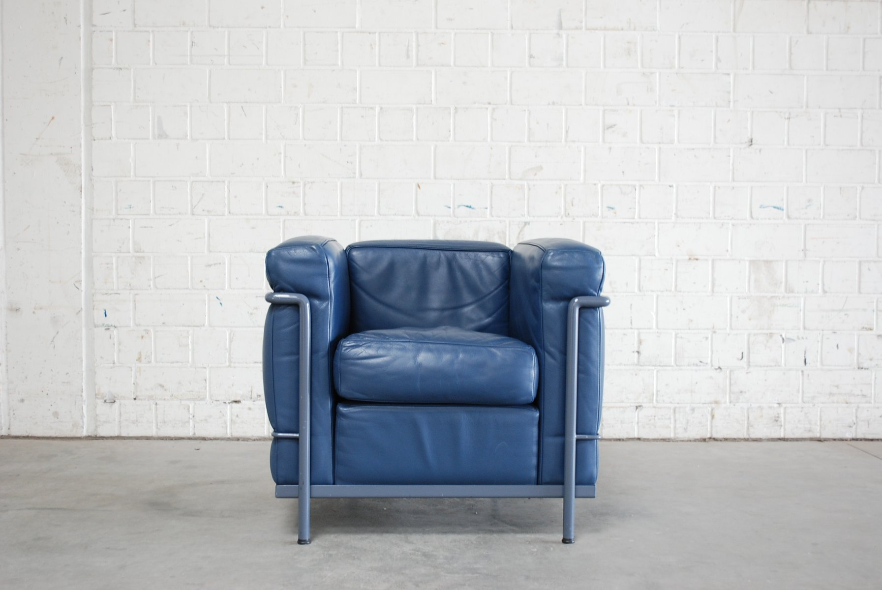 Superior Vintage Blue Model LC2 Leather Chair By Le Corbusier For Cassina Amazing Ideas