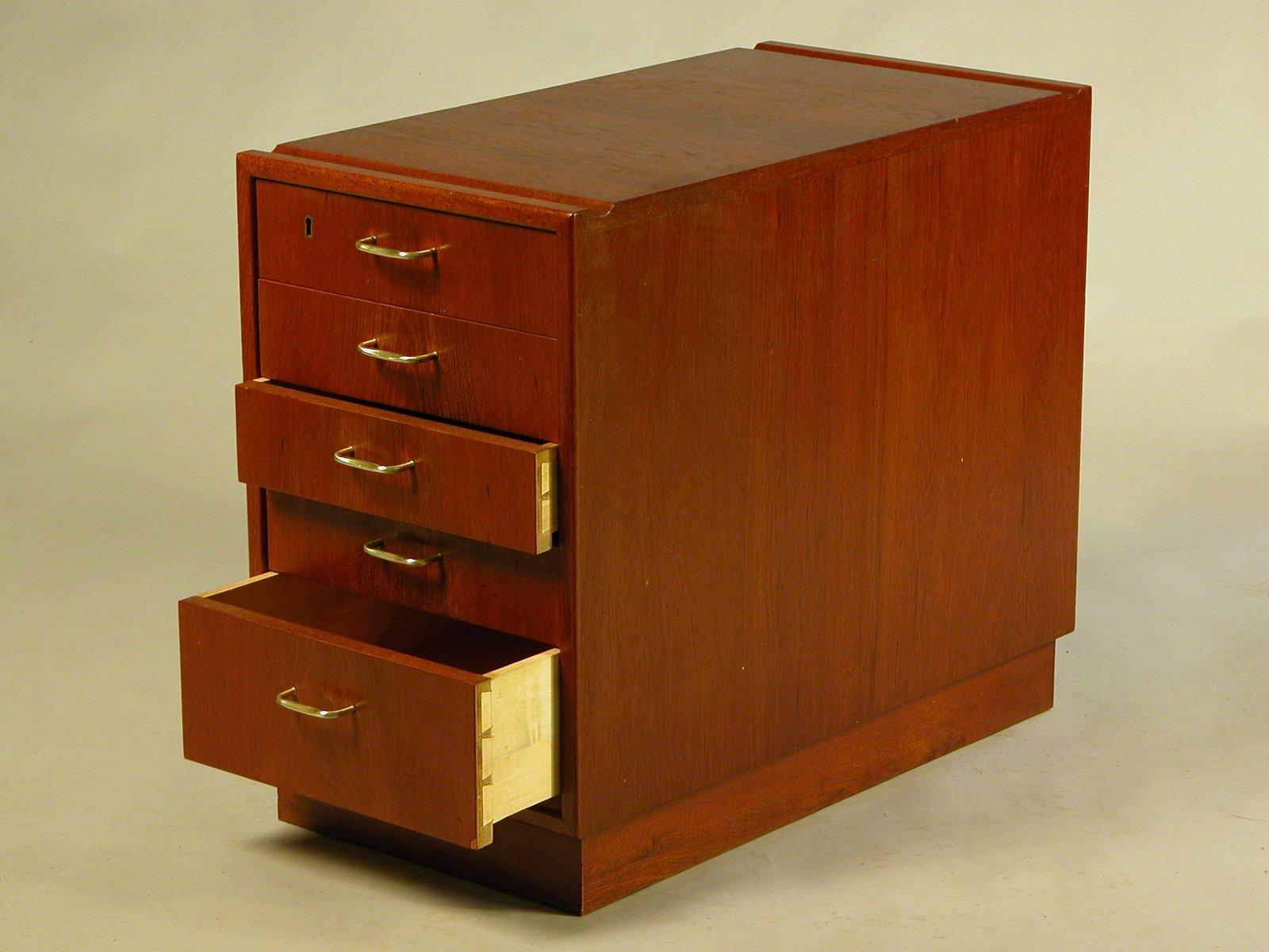 vintage teak schreibtisch schubladen 1950er bei pamono kaufen. Black Bedroom Furniture Sets. Home Design Ideas