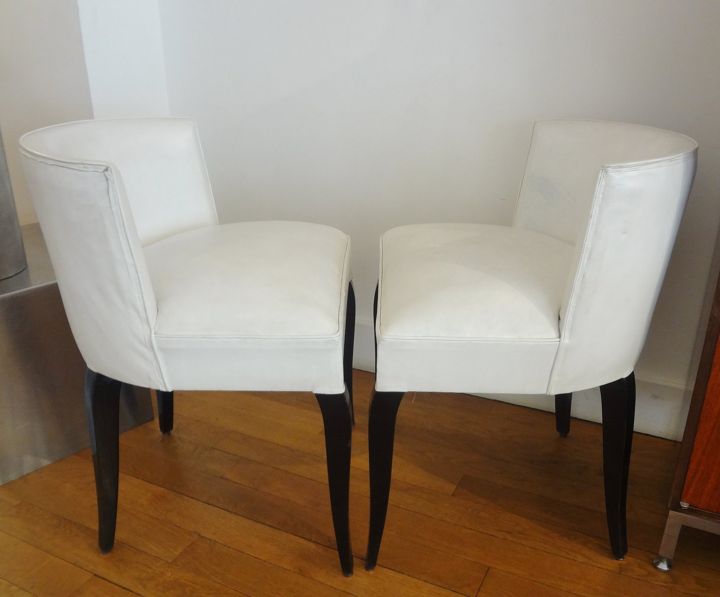 Wonderful Vintage White Side Chairs By Jacques Adnet, 1930s, Set Of 2