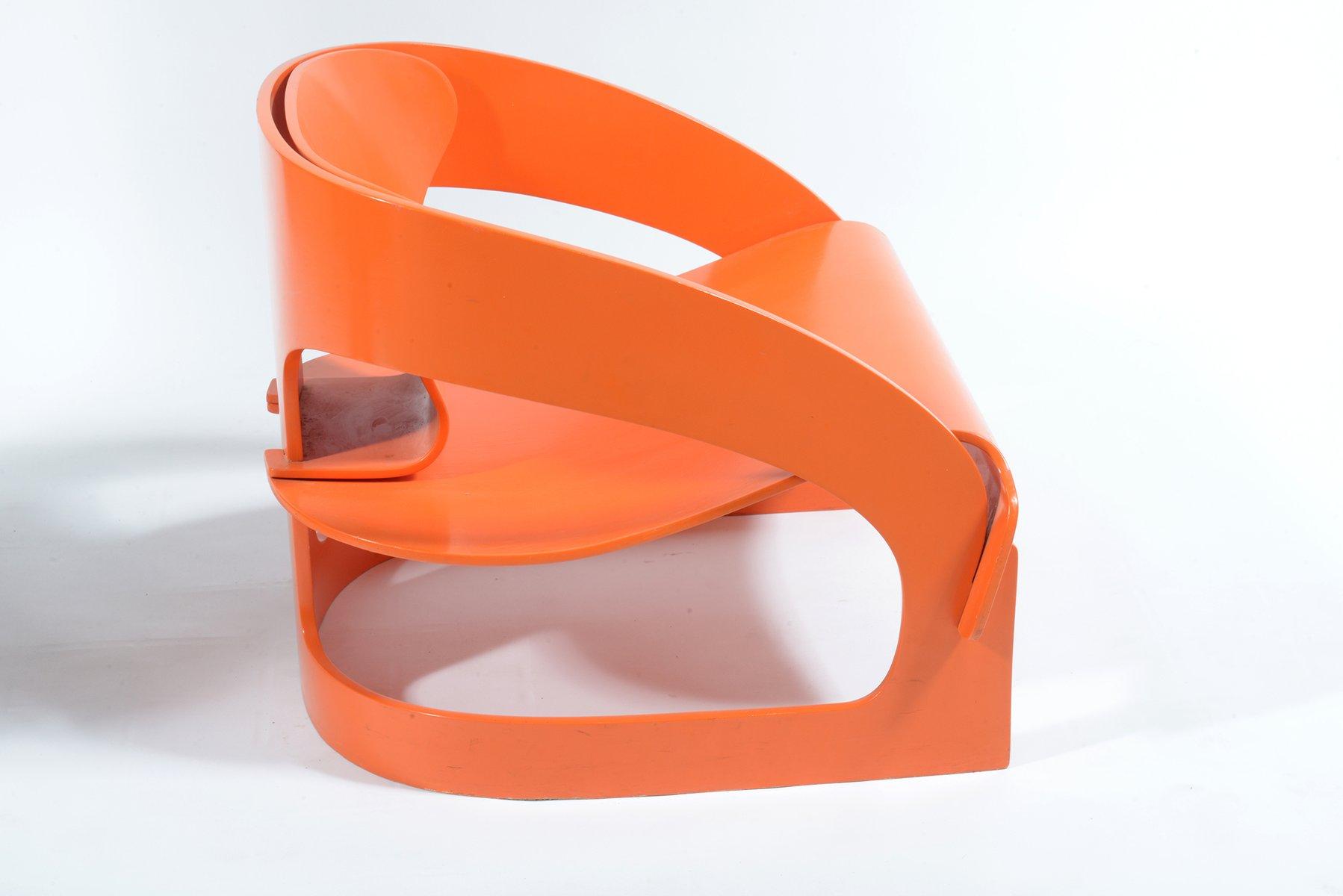 fauteuil orange par joe colombo pour kartell 1964 en vente sur pamono. Black Bedroom Furniture Sets. Home Design Ideas