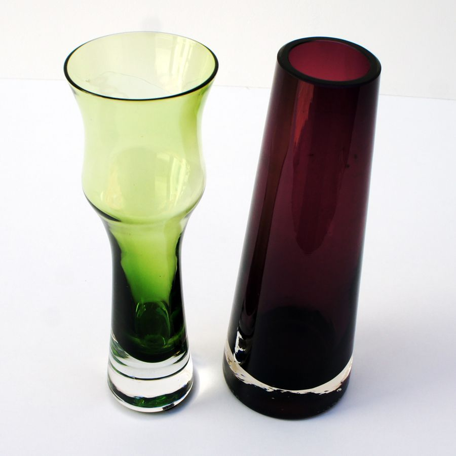Vintage green and pink glass vases from riihimen set of 2 for price per set reviewsmspy
